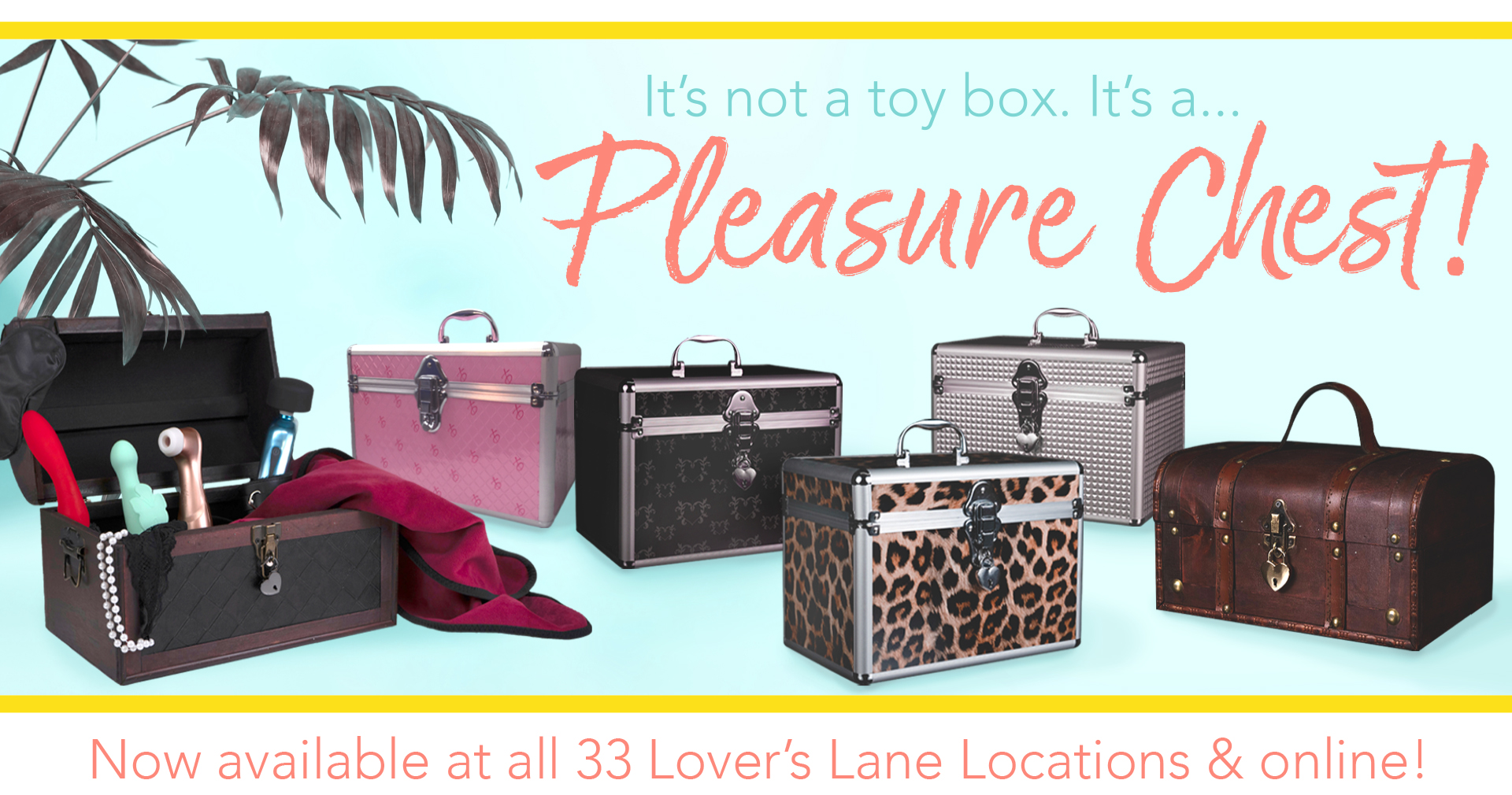 It's not a toy box...it's a Pleasure Chest. Now available at all 33 Lover's Lane locations and online!