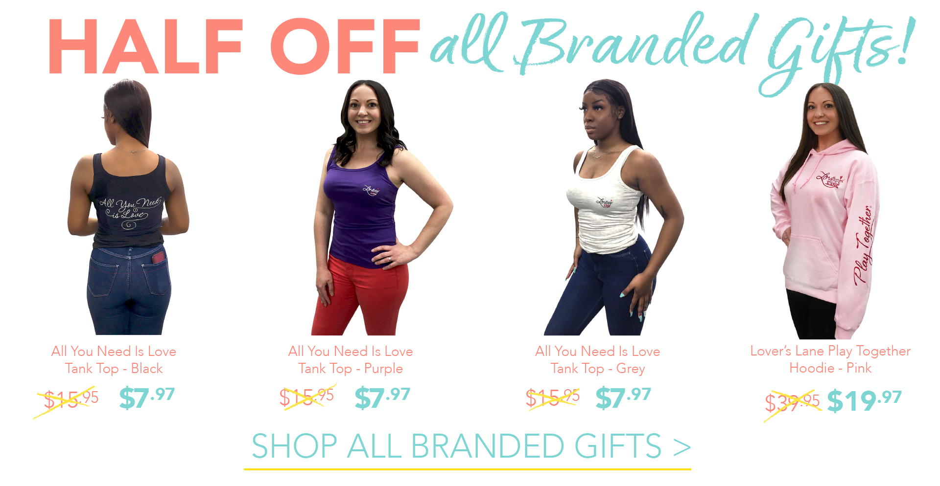 HALF OFF all branded Gifts! Click here to shop Branded Gifts