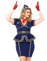 Alternate front view of 3PC FRIENDLY SKIES PLUS SIZE FLIGHT ATTENDANT COSTUME