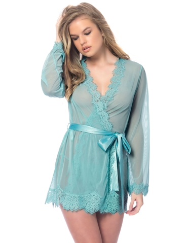 EYELASH LACE ROBE WITH SATIN TIE