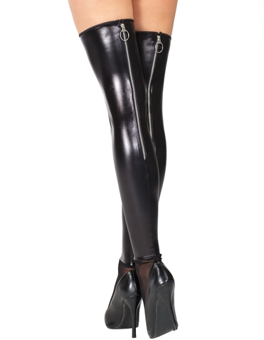 ZIPPER BACK WET LOOK THIGH HIGHS - ALL SIZES