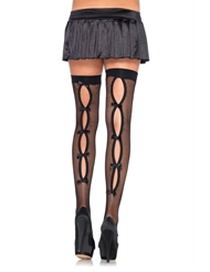 Alternate front view of KEYHOLE FISHNET THIGH HIGHS BOWS