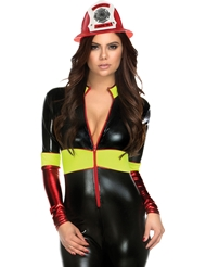 Alternate front view of TOO HOT TO HANDLE FIREWOMAN CATSUIT