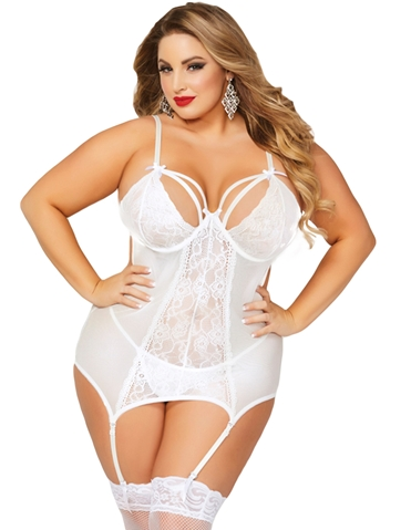 PLUS SIZE EYELASH LACE MERRY WIDOW