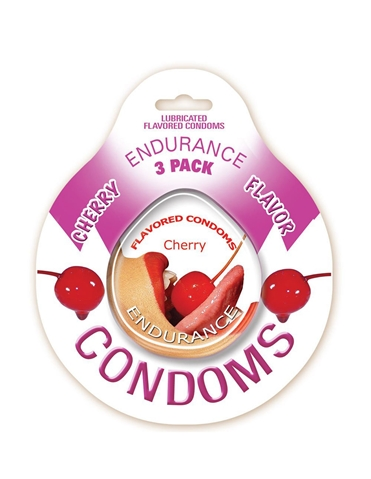 ENDURANCE CHERRY 3PK CONDOMS