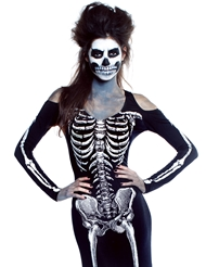 Alternate front view of FROM THE GRAVE LONG SKELETON DRESS