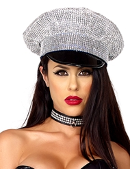 Alternate front view of RHINESTONE COP HAT