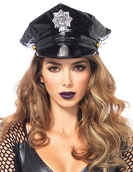 Alternate front view of VINYL POLICE HAT