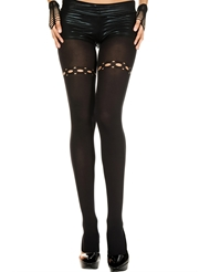 Alternate front view of RIPPED NET HOLES SPANDEX TIGHTS