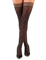 Alternate front view of TIFFANY SHEER DIAMOND THIGH HIGHS