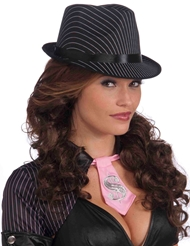 Alternate front view of PINSTRIPE GANGSTER HAT