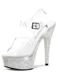 BLING CRYSTAL PLATFORM STILETTO - CLEAR