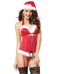 4PC SANTA SEDUCTION BRA & CINCHER SET