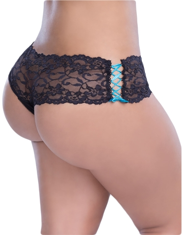 LACE-UP SIDE CROTCHLESS BOYSHORT - PLUS