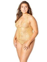 LACE CROTCHLESS TEDDY - PLUS