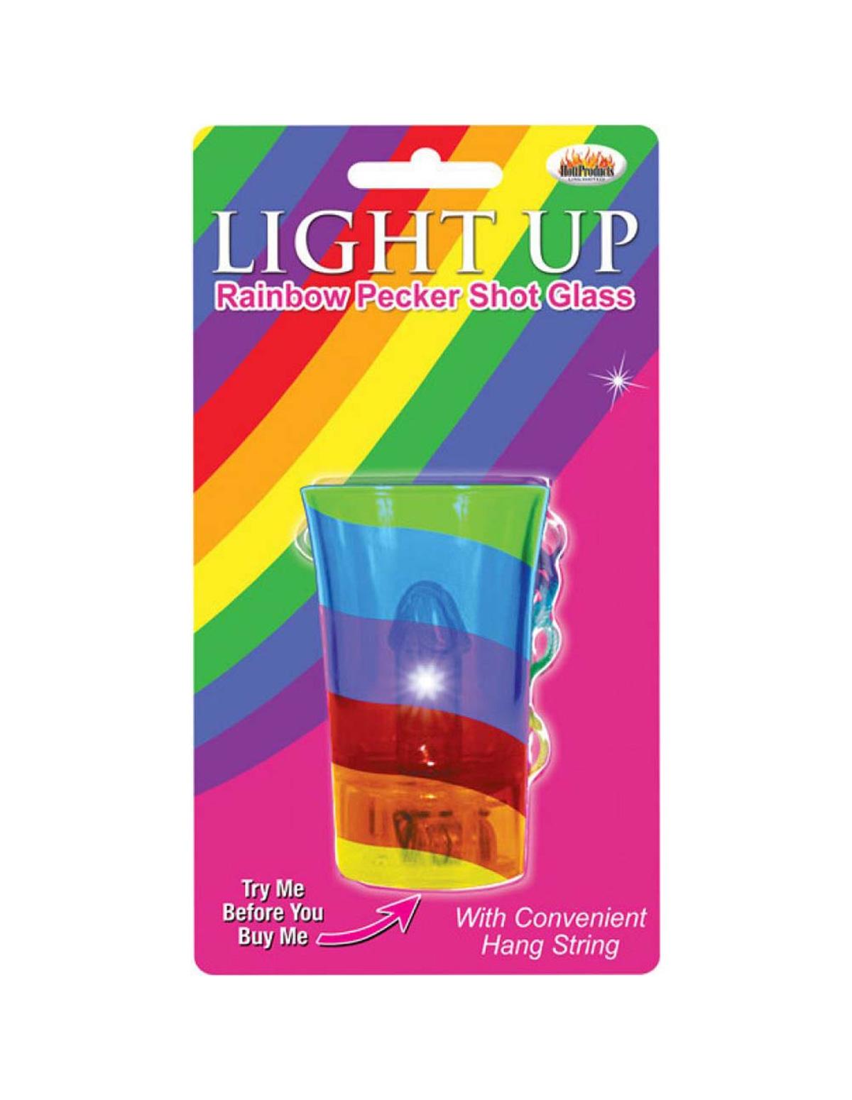 Light Up Rainbow Pecker Shotglass