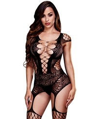 LACE-UP FRONT GARTER BODYSTOCKING