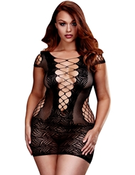 LACE-UP FRONT PLUS SIZE MINI DRESS