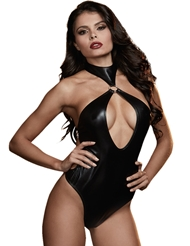 FAUX LEATHER HALTER TEDDY