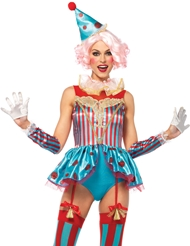 Alternate back view of 4PC DELIGHTFUL CIRCUS CLOWN COSTUME