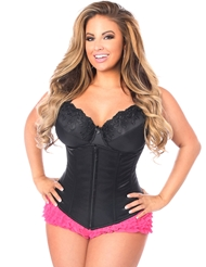 Alternate front view of LAVISH UNDERBUST PLUS SIZE CORSET WITH ZIPPER