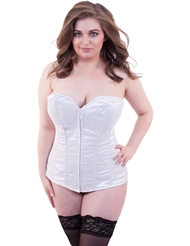 Alternate front view of LAVISH GLITTER PLUS SIZE WHITE CORSET
