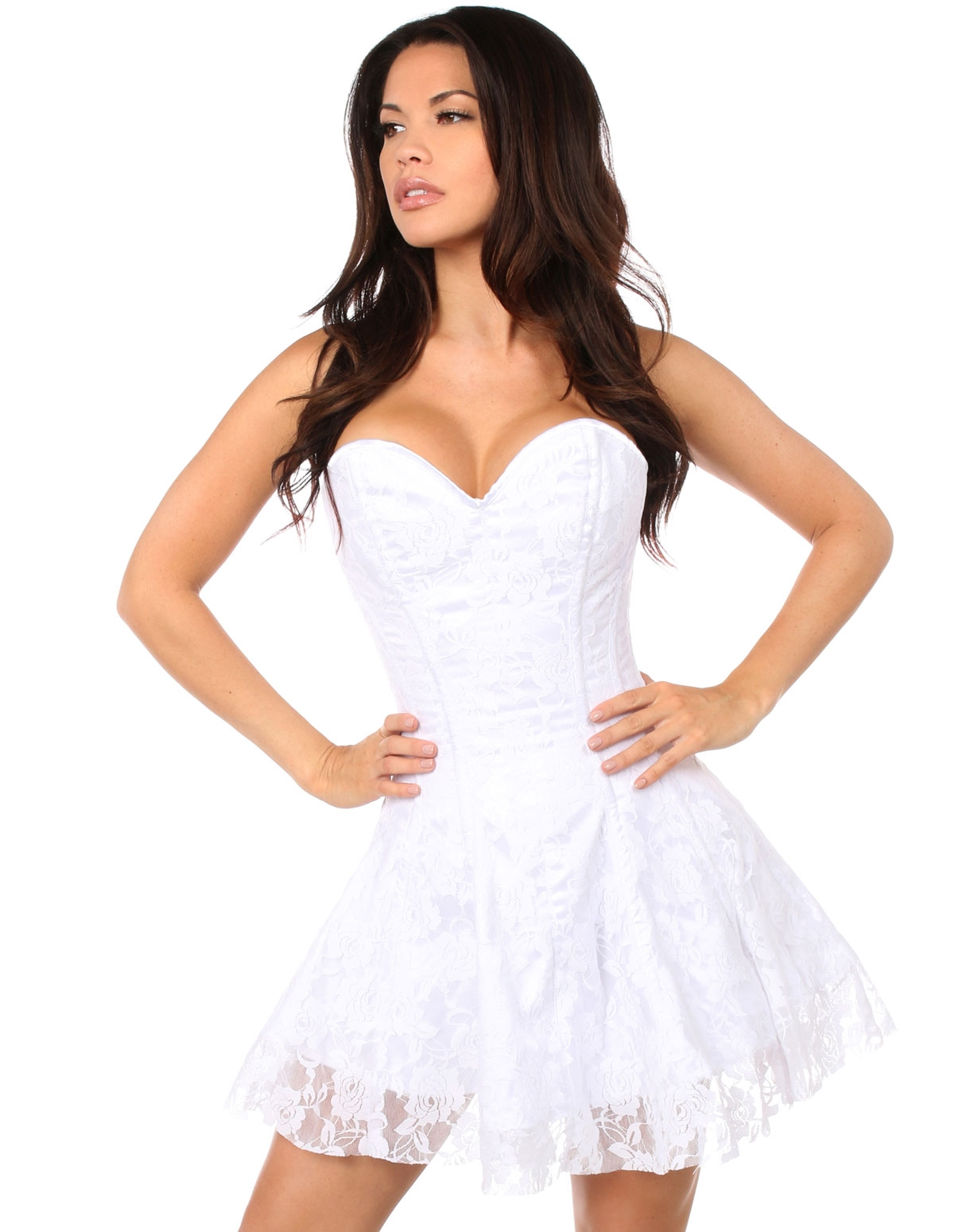 Lavish White Lace Corset Plus Size Dress