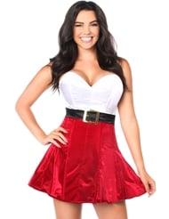 STEEL BONED HOLIDAY DRESS RED