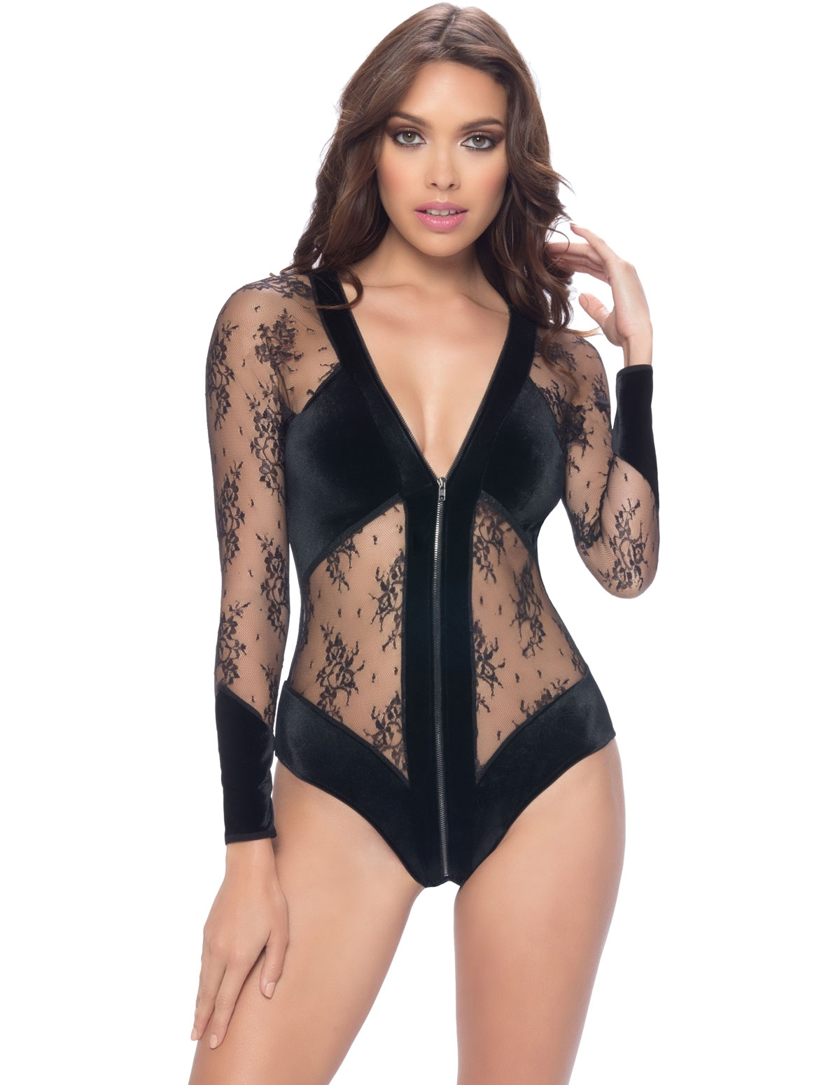 A Touch Of Velvet Lace Zip Teddy
