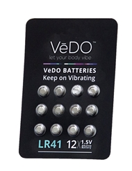 VEDO LR41 1.5 VOLT BATTERIES - 12 PACK