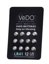 VEDO LR41 1.5 VOLT BATTERIES - 12 PACK