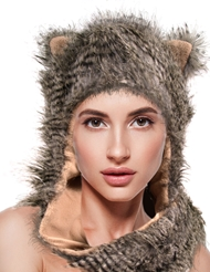 STRIPED CAT HAT WITH MITTENS