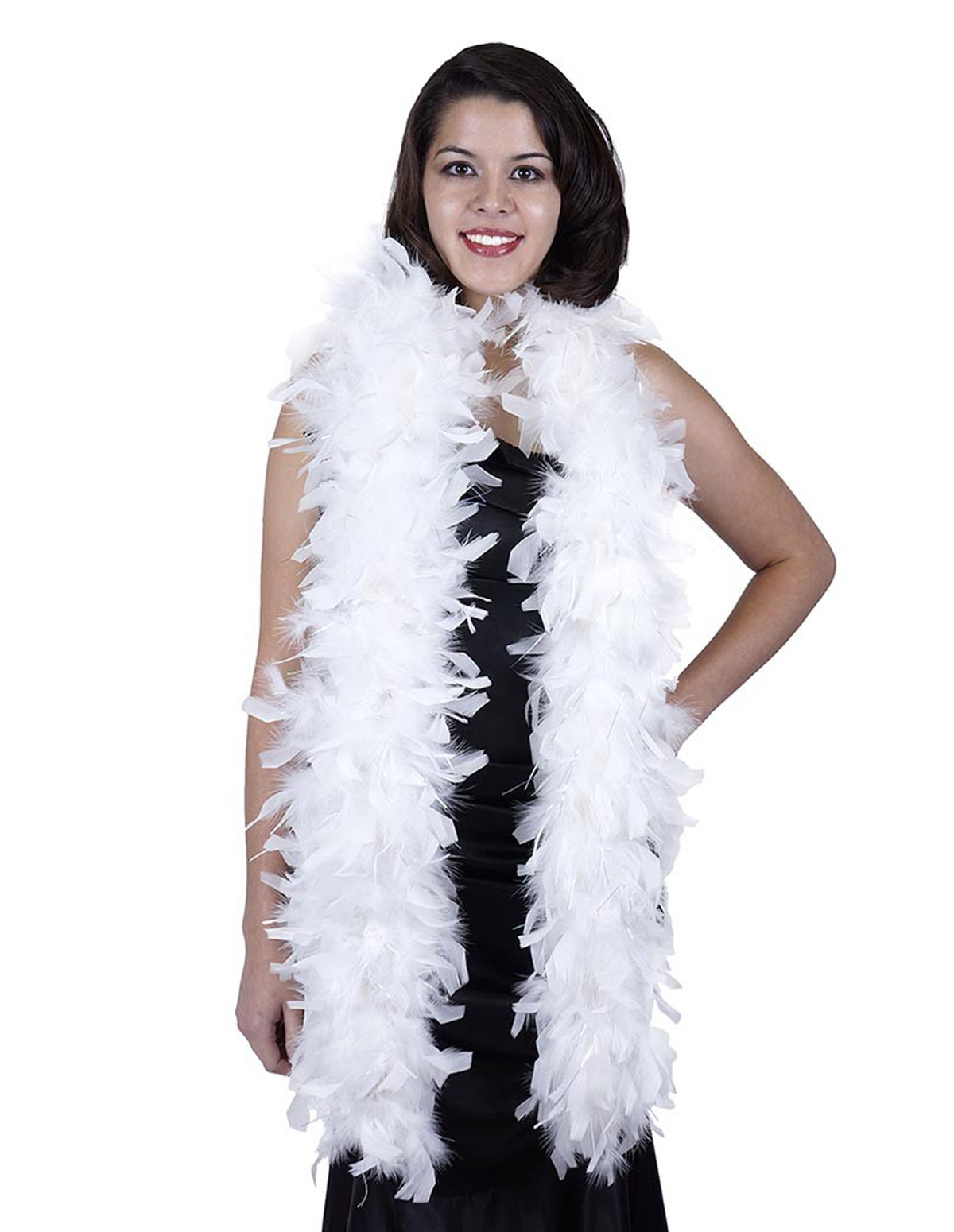 Chandelle Feather Boa With Lurex White