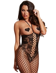 KNIT LACE OPEN-CUP BODYSTOCKING