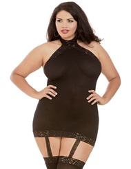 SEXY OPAQUE HALTER DRESS WITH STOCKINGS - PLUS