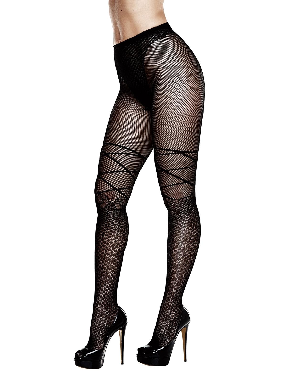 Jacquard Plus Size Pantyhose With Bow