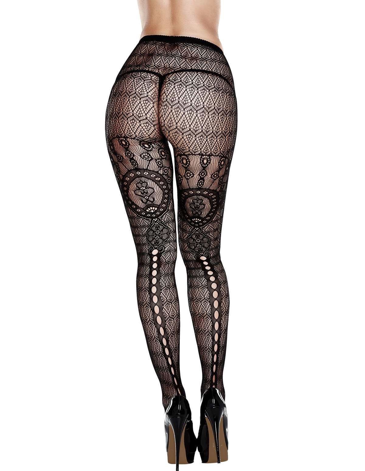 Jacquard Pantyhose With Keyhole