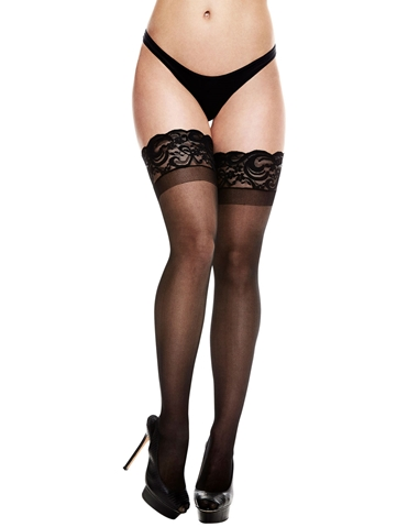 LACE TOP SILICONE STAY-UP SHEER THIGH HIGHS
