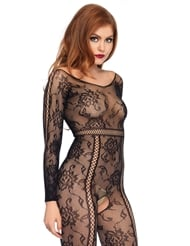 LONG SLEEVE SEAMLESS LACE BODYSTOCKING