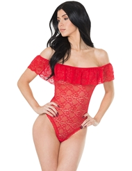 LACE OFF-THE-SHOULDER RUFFLE TEDDY