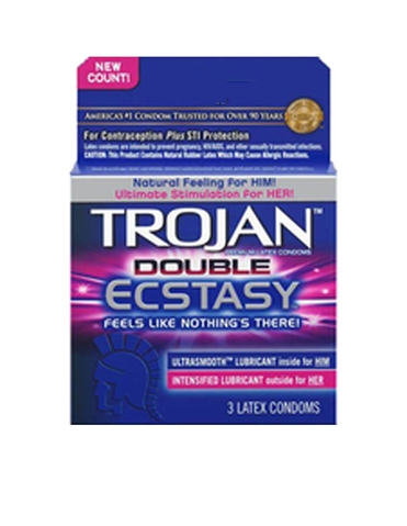 TROJAN DOUBLE ECSTASY 3 PACK CONDOMS