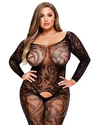 LONG SLEEVE CROTCHLESS BODYSTOCKING - PLUS