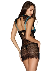 COLLARED EYELASH LACE AND SATIN CHEMISE