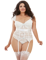 CAP SLEEVE WITH STRETCH LACE BUSTIER - PLUS