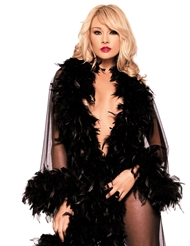 SHEER FULL LENGTH ROBE WITH FEATHER TRIM