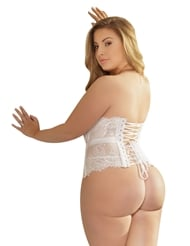 Alternate back view of BRIDAL WHITE WAIST CINCHER - PLUS