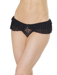 RUFFLE SKIRT CROTCHLESS PANTY - PLUS