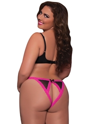FENCE MESH CROTCHLESS PLUS SIZE PANTY WITH SATIN BOW