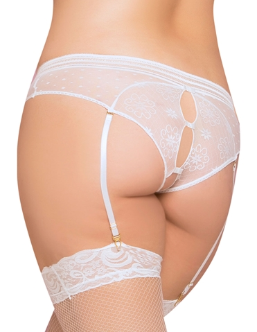 KEYHOLE AND BOW BACK GARTERED PANTY - PLUS
