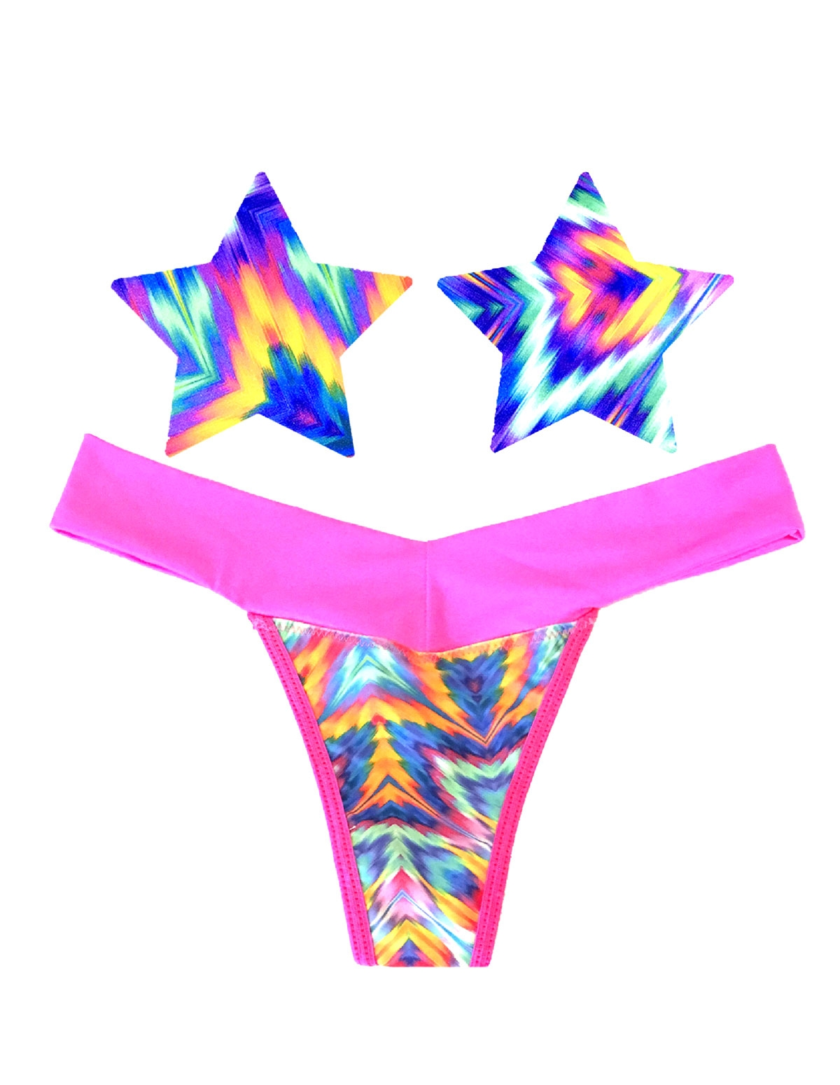 Naughty Knix Aztec Rave Thong & Pasties